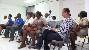 Frontline staff in the Ministry of Health on Nevis at a training session by representatives from the Pan American Health Organisation On March 20, 2020 at the Ministry of Gender Affairs conference room