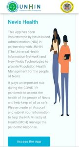 The homepage for the Nevis Health website to be launched by the Nevis Island Administration on Thursday April 09, 2020