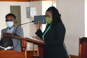 Hon. Cleone Stapleton Simmonds being sworn in as a member of the Nevis Island Assembly on April 18, 2020 by Ms. Myra Williams, Clerk of the Assembly, at an emergency sitting on April 18, 2020