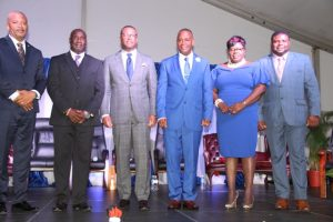 Ministers of the Nevis Island Administration Cabinet during the Inauguration Ceremony in 2017 (l-r) Hon. Spencer Brand; Hon. Alexis Jeffers; Hon. Mark Brantley, Premier of Nevis; Hon. Hazel Brandy-Williams; and Hon. Troy Liburd