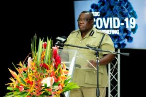 Mr. Hilroy Brandy, Commissioner of Police in the Royal St. Christopher and Nevis Police Force making his presentation at the National Emergency Operations Centre COVID-19 daily briefing on May 26, 2020, in St. Kitts