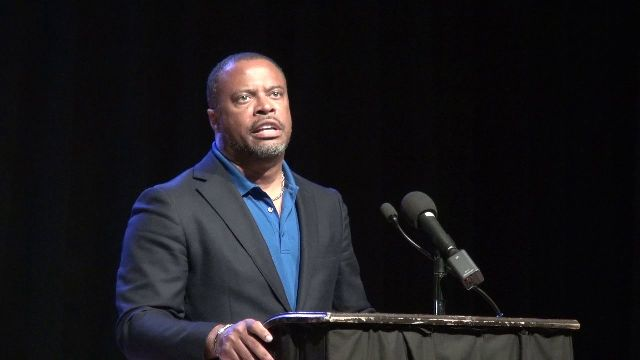 Hon. Mark Brantley, Premier of Nevis, addressing members of the religious fraternity on the island at a meeting at the Nevis Performing Arts Centre on May 21, 2020