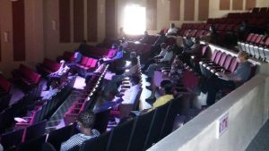 A section of the members of the religious fraternity on Nevis attending a meeting at the Nevis Performing Arts Centre on May 21, 2020, called by Hon. Mark Brantley, Premier of Nevis, to address the reopening of churches