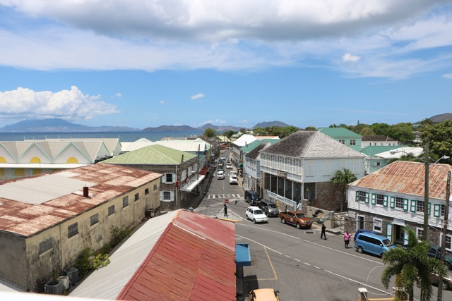 A part of the commercial side of Charlestown on Nevis with St. Kitts in the background (file photo)