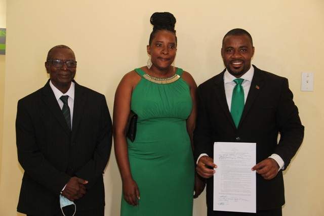 Mr. Bjorn Hanley (r) of the Nevis Reformation Party moments after he was nominated on May 27, 2020, at the David Freeman Centre of Excellence by Mr. Myron C. Liburd of Rices Village and Ms. Shakiela Morton of Hanley's Road to contest the general elections in Constituency No.10 on June 07, 2020