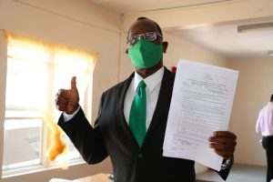 Dr. Kelvin Daly of the Nevis Reformation Party moments after he was nominated on May 27, 2020, at the Bath Community Centre to contest the general elections in Constituency No.9 on June 05, 2020
