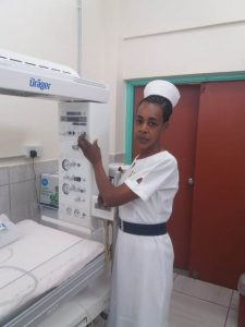 Sylvianna Andre-Powell at work at the Alexandra Hospital on May 13, 2020, named Nurse of the Year 2020 by the Nevis Nurses Association for her selflessness and dedication to duty (photo provided)
