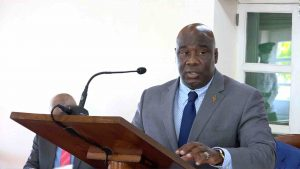 Hon. Alexis Jeffers, Deputy Premier of Nevis and Minister of Agriculture, delivering his presentation at a sitting of the Nevis Island Assembly in Chambers at Hamilton House on July 02, 2020