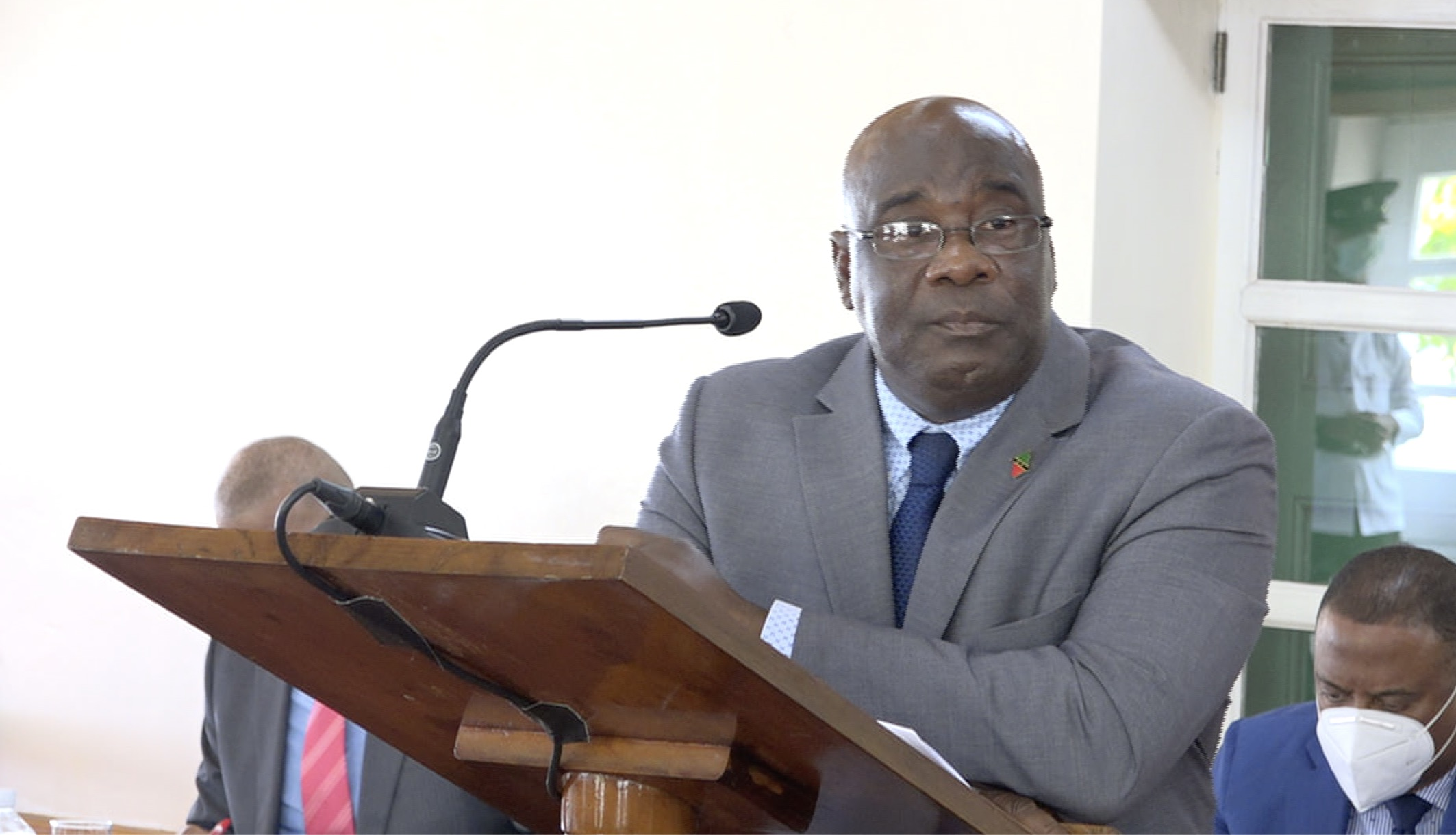 Hon. Alexis Jeffers, Deputy Premier of Nevis and Minister of Agriculture making his presentation at a sitting of the Nevis Island Assembly on July 02, 2020