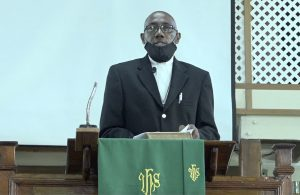 "Rev. Wendell Samuel, Circuit Minister at the Gingerland Methodist Church leads ""United in Christ Giving Thanks and Praise"" service at the church on July 19, 2020, for the three ministers in the Nevis Island Administration, are no w also ministers in the Government of St. Kitts and Nevis"