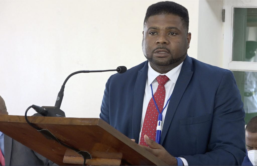 Hon. Troy Liburd, Junior Minister of Education in the Nevis Island Administration, making his presentation at a sitting of the Nevis Island Assembly Chambers at Hamilton House on July 02, 2020