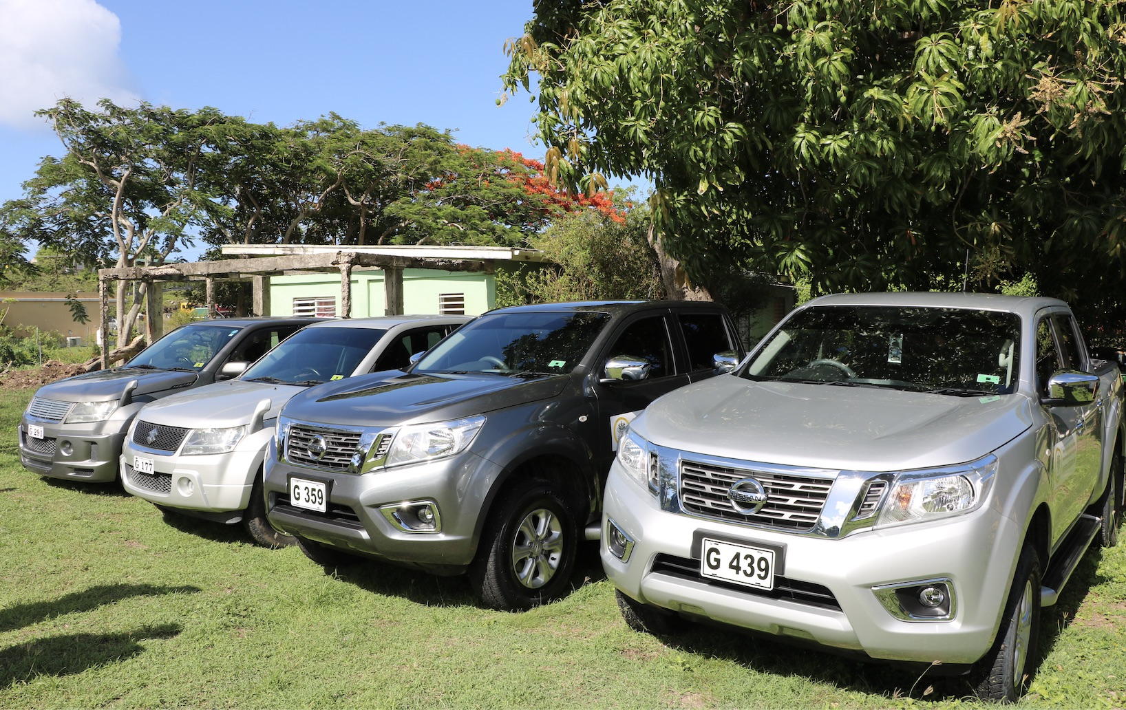 Four vehicles handed over to the Department of Agriculture by Hon. Alexis Jeffers, Deputy Premier of Nevis and Minister of Agriculture, on July 21, 2020, at the Prospect Agricultural Station for use in the support of the farming sector on Nevis