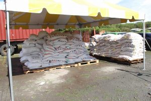 Some bags of the $33,000 free feed at Prospect on July 15, 2020, for distribution to livestock farmers on Nevis as part of a Nevis Island Administration/Eastern Caribbean Group of Companies partnership