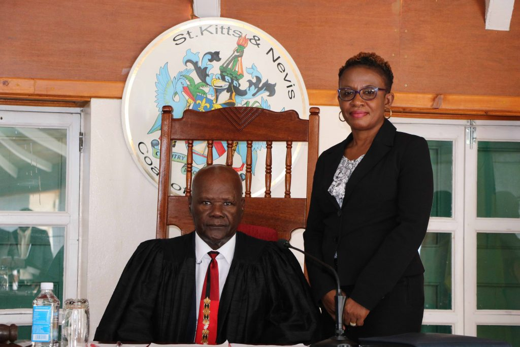 Hon. Farrel Smithen, President of the Nevis Island Assembly; and Ms. Myra Williams, Clerk of the Nevis Island Assembly in Chambers at Hamilton House (file photo)