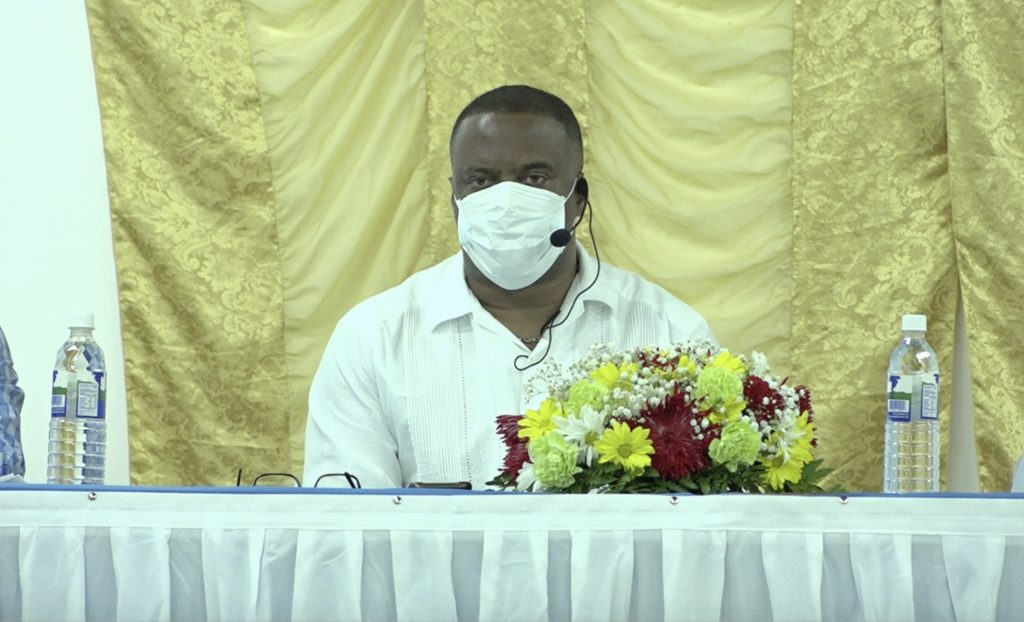 Hon. Mark Brantley, Premier of Nevis and Minister of Finance at the Cotton Ground Community Centre on July 23, 2020, at the first of a five-part series of town hall meetings hosted by the Nevis Island Administration