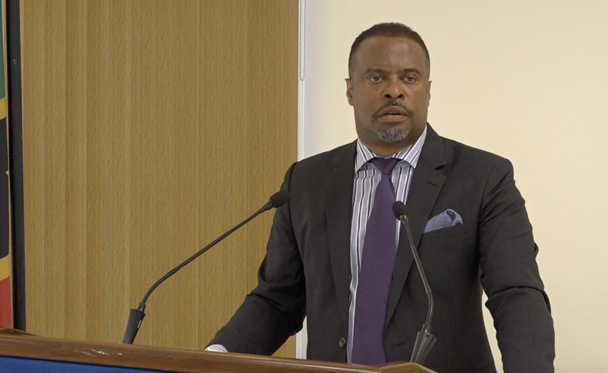 Hon. Mark Brantley, Premier and Minister of Finance in the Nevis Island Administration, speaking at his monthly press conference on July 30, 2020