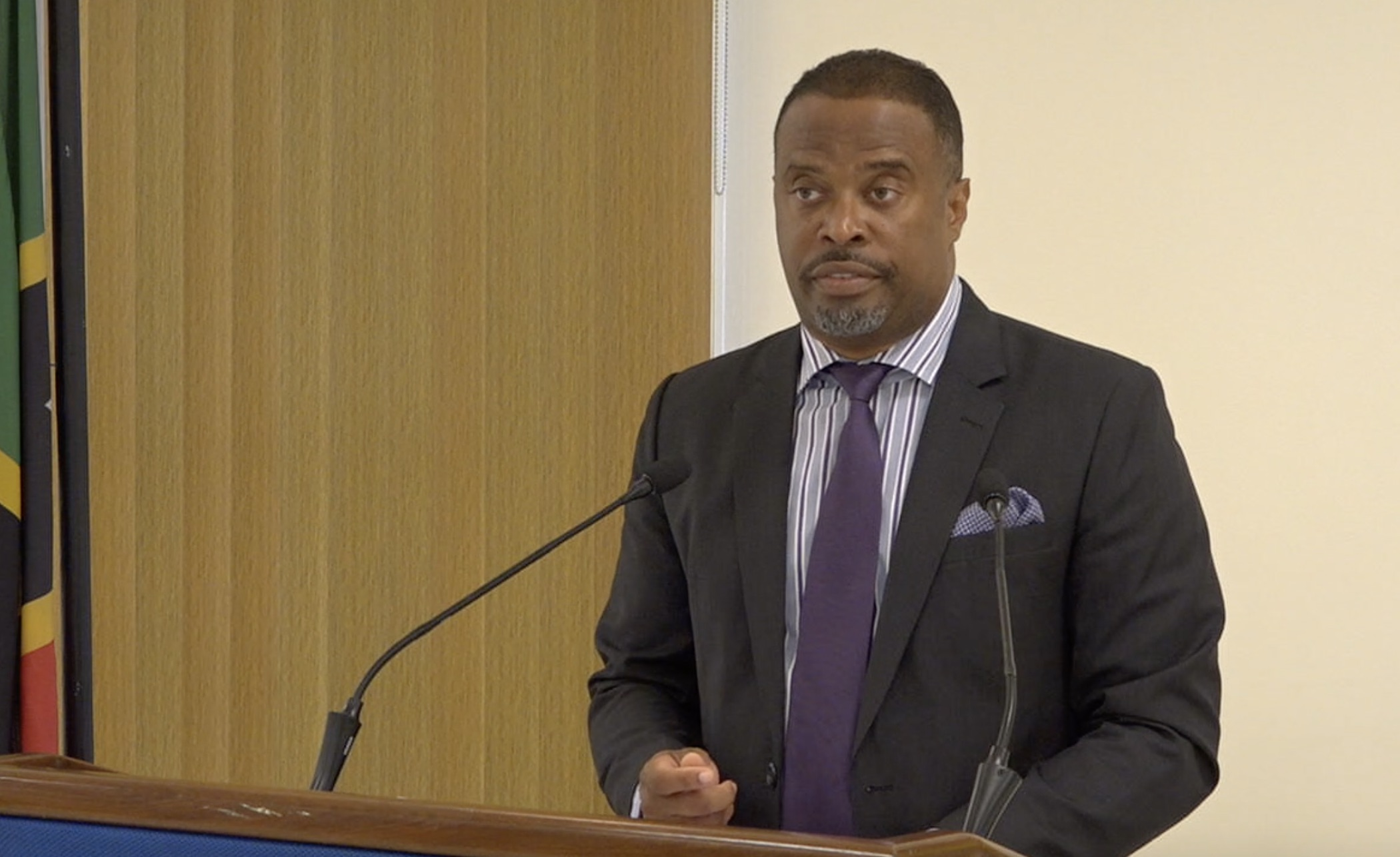Hon. Mark Brantley, Premier and Minister of Education in the Nevis Island Administration, at his monthly press conference on July 30, 2020