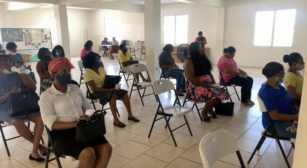 Early Childhood Development supervisors attending a COVID-19 Compliance sensitization training workshop for re-opening of Early Childhood Development Centres at the Charlestown Primary School's auditorium on July 16, 2020
