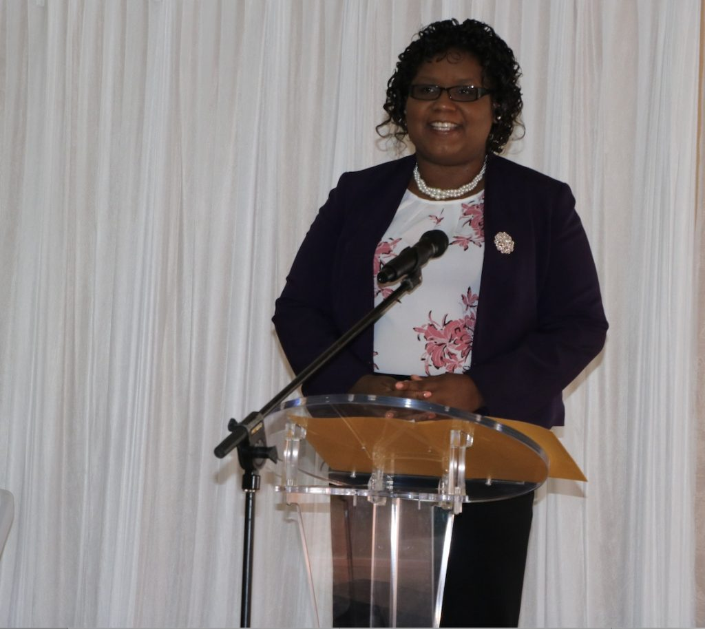 Ms. Zahnela Claxton, Principal Education Officer in the Department of Education, delivering remarks at the opening of the Prospective Teachers Course 2020 at the Jessups Community Centre on July 13, 2020