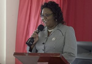 Ms. Zahnela Claxton, Principal Education Officer in the Department of Education on Nevis making her presentation at a COVID-19 Compliance sensitization training workshop for Early Childhood Development Centre supervisors on July 16, 2020 at the Charlestown Primary Scholl auditorium