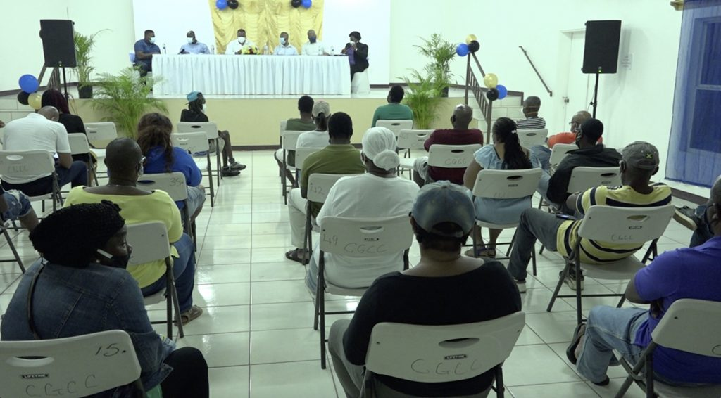 Cross section of the audience at the July 23, 2020 town hall meeting at the Cotton Ground Community Centre, hosted by the Nevis Island Administration
