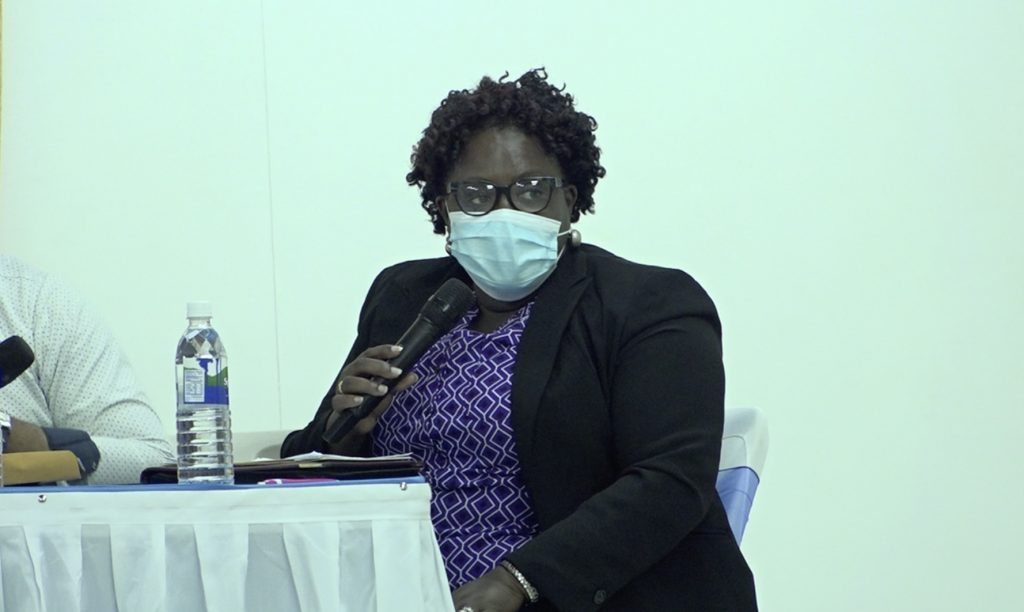 Hon. Hazel Brandy-Williams, Junior Minister of Health, at a town hall meeting hosted by the Nevis Island Administration on July 23, 2020, at the Cotton Ground Community Centre.