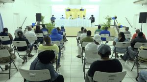 A section of attendees listening to Junior Minister of Health and other members of the Cabinet at a town hall meeting hosted by the Nevis Island Administration on July 23, 2020, at the Cotton Ground Community Centre