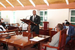 Hon. Mark Brantley, Premier of Nevis delivering remarks at a special sitting of the Nevis Island Assembly on July 31, 2020, in commemoration of the 50th Anniversary of the MV Christena Disaster