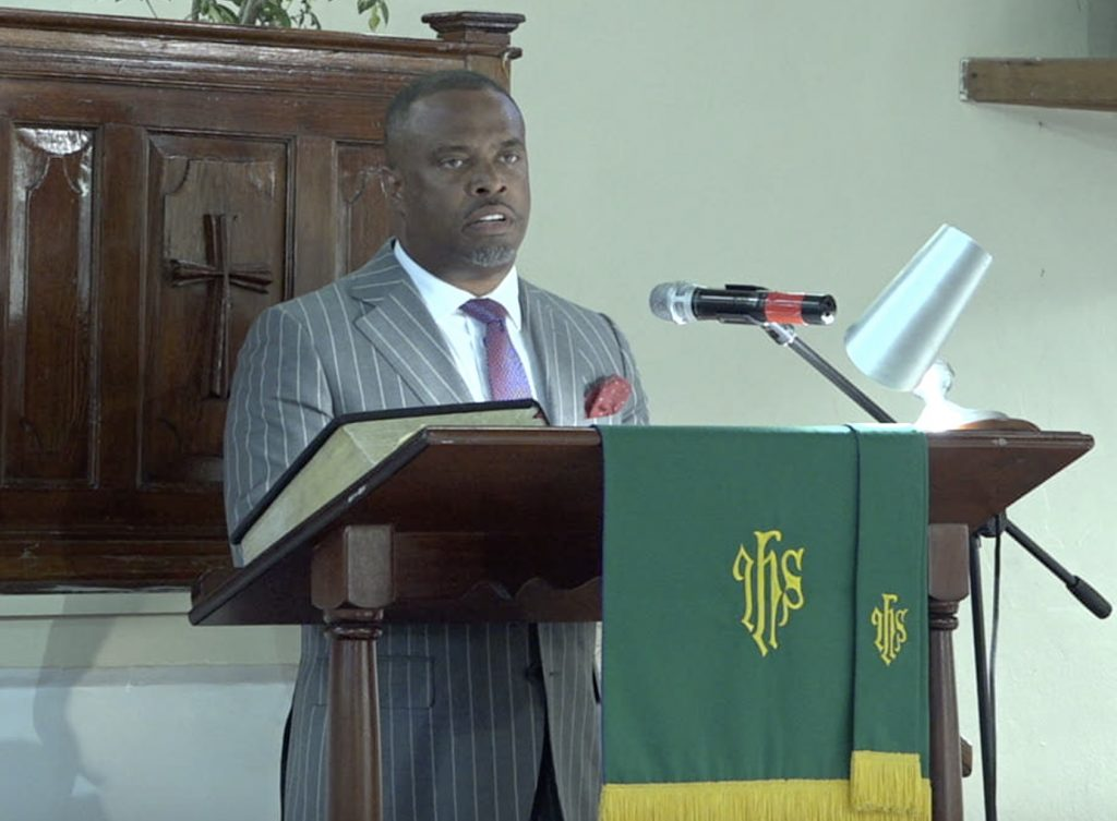 """Hon. Mark Brantley, Premier of Nevis, and Minister of Foreign Affairs in St. Kitts and Nevis delivering remarks at a """"United in Christ, Giving Thanks and Praise"""" church service at the Gingerland Methodist Church on July 19, 2020"""