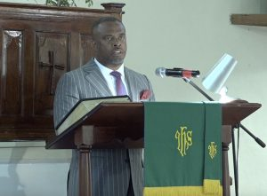 "Hon. Mark Brantley, Premier of Nevis, and Minister of Foreign Affairs in St. Kitts and Nevis delivering remarks at a ""United in Christ, Giving Thanks and Praise"" church service at the Gingerland Methodist Church on July 19, 2020"