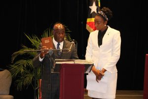 Hon. Alexis Jeffers, Member for Nevis 11 in the National Assembly, taking the Oath of Allegiance at the Opening of the National Assembly at the St. Kitts Marriott Resort on July 08, 2020, while Mrs. Sonia Boddie-Thompson, Clerk of the National Assembly looks on