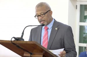 Hon. Spencer Brand, Minister of Posts in the Nevis Island Administration, making his presentation at a sitting of the Nevis Island Assembly in Chambers on July 02, 2020