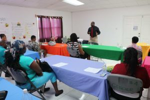 Keith Glasgow, Permanent Secretary in the Ministry of Social Development in the Nevis Island Administration, addressing participants at the launch of a backyard gardening project on July 15, 2020