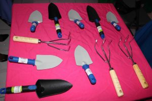 Some of the tools gifted to participants at the launch of a backyard gardening project on July 15, 2020