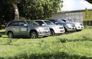 The four vehicles handed over to the Department and Ministry of Agriculture