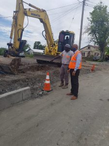 Hon. Spencer Brand, Minister of Works in the Nevis Island Administration, Mr. Rashid Huggins from the Public Works Department while touring the Brown Hill Road Rehabilitation Project on July 23, 2020