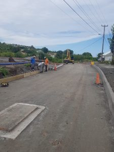 Curb and slipper drains under construction in the vicinity of the bridge on July 23, 2020,  as part of the Brown Hill Road Rehabilitation Project