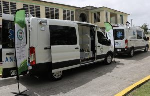 The two 2020 Chevrolet Express Type 2 ambulances commissioned at the Alexandra Hospital on Nevis on August 2020