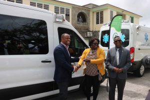 Hon. Premier Mark Brantley, Minister of Health on Nevis; Hon. Hazel Brandy-Williams, Junior Minister of Health in the Nevis Island Administration; and Mr. Antonio Maynard, Director of the St. Christopher and Nevis Social Security Board at a ceremony commissioning two new ambulances at the Alexandra Hospital on August 28, 2020