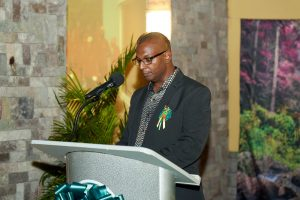 Mr. Gilroy Pultie, General Manager of the Nevis Electricity Company Limited delivering remarks at a cocktail and awards ceremony at the Nevis Performing Arts Centre on August 29, 2020, in celebration of the company's 20th anniversary on September 01, 2020 (Photo courtesy the Nevis Electricity Company Limited)