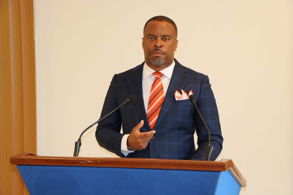 Hon. Mark Brantley Premier of Nevis and Minister of Finance and Human Resources in the Nevis Island Administration making a presentation at his monthly press conference in Cabinet Room at Pinney's Estate on August 27, 2020