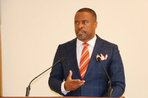 Hon. Mark Brantley, Premier of Nevis, at his monthly press conference on August 27, 2020, in Cabinet Room at Pinney's Estate