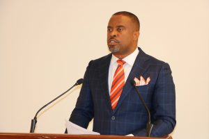 Hon Mark Brantley, Premier of Nevis and Minister of Finance at his monthly press conference in the Cabinet Room at Pinney's Estate on August 27, 2020