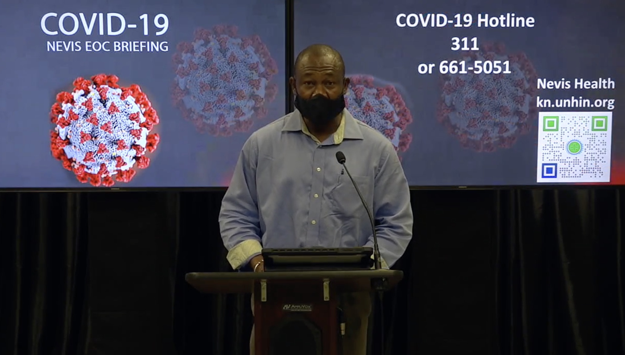 Mr. Brian Dyer, Director at the Nevis Disaster Management Department and Co-Chair of the Nevis COVID-19 Task Force delivering remarks at the Nevis COVID-19 Task Force briefing on August 17, 2020 at the Emergency Operations Centre at Long Point Road