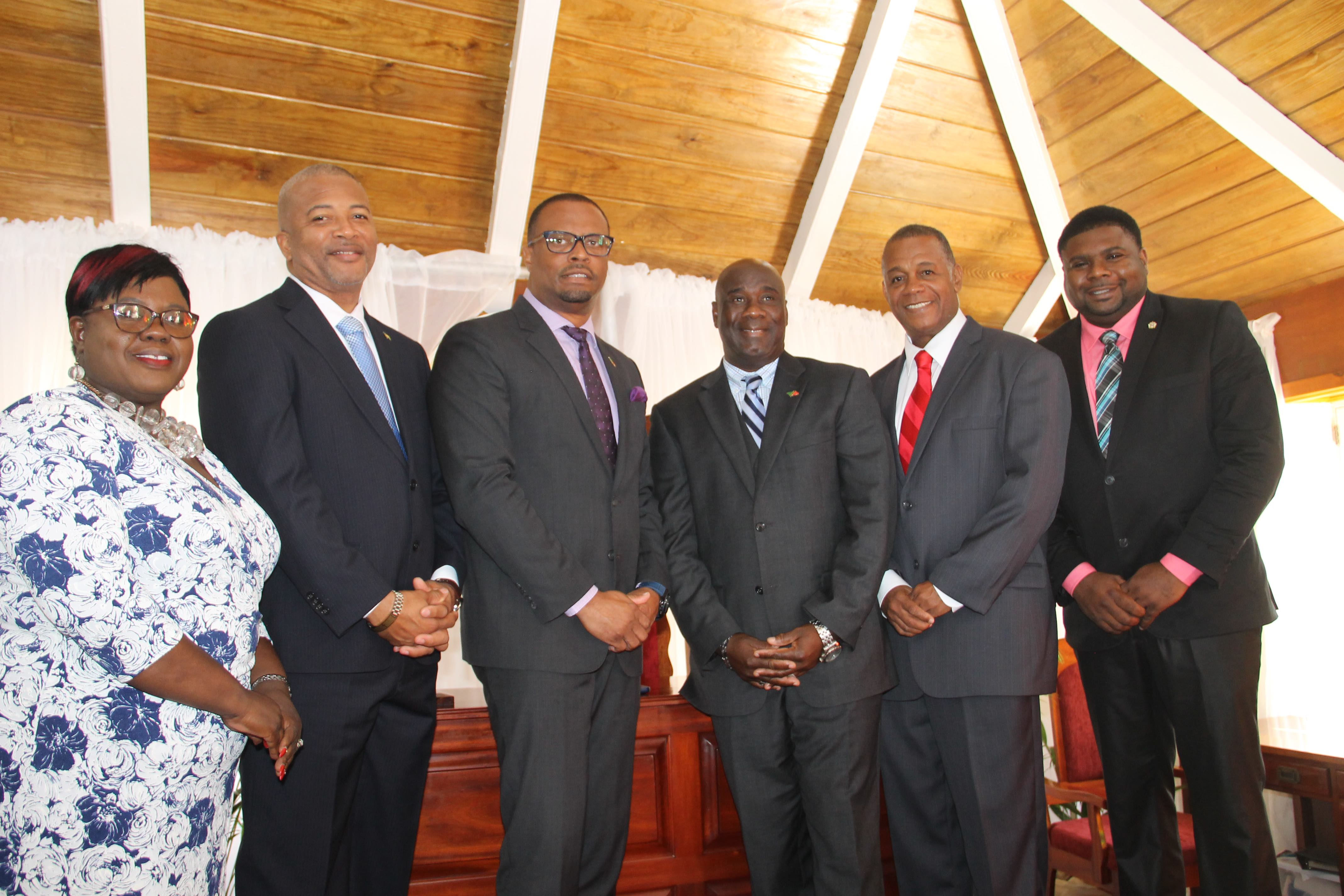 Cabinet of Ministers in the Nevis Island Administration (l-r) Hon. Hazel Brandy-Williams; Hon. Spencer Brand; Premier of Nevis, Hon. Mark Brantley; Deputy Premier Hon. Alexis Jeffers; Hon. Eric Evelyn; and Hon. Troy Liburd (file photo)