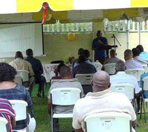 Former West Indies cricketer Keith Arthurton speaking at the opening of the new Livingstone Sargeant Cricket Practice Facility