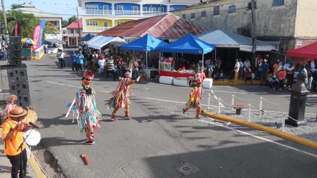 Masqueraders performing in Charlestown during the Emancipation Celebrations on August 03, 2020 (photo by Lester Blackett)