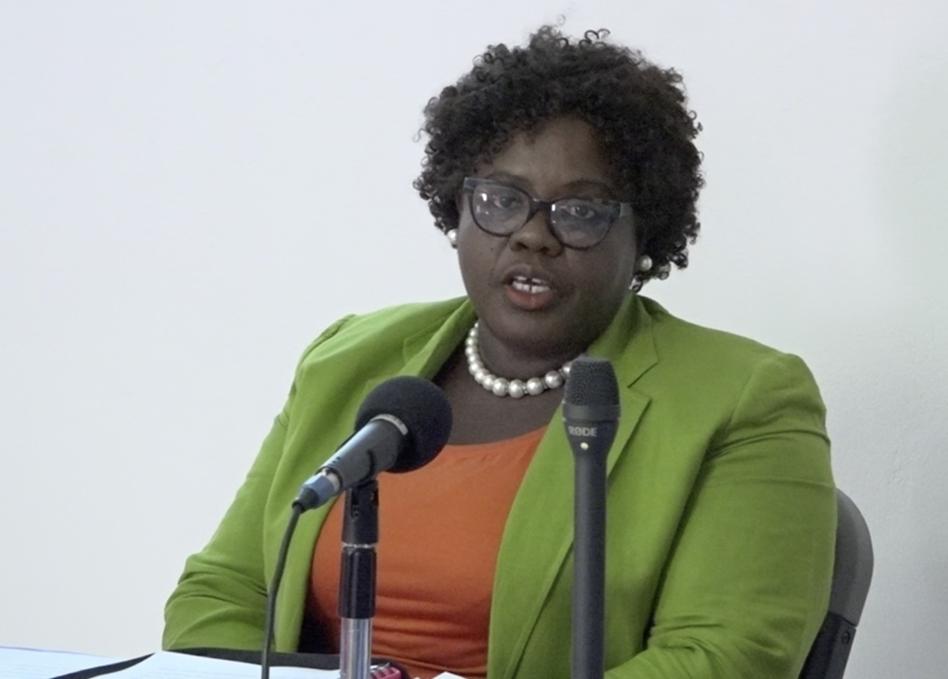 Hon. Hazel Brandy Williams, Junior Minister responsible for Gender Affairs in the Nevis Island Administration delivering remarks at the closing ceremony for a Business Boot Camp hosted by the Gender Affairs Division on August 12, 2020, at the GMBC Building in Charlestown