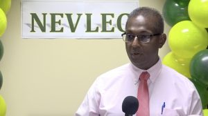 Mr. Gilroy Pultie, General Manager of the Nevis Electricity Company Limited delivering remarks at a handing over ceremony at the company's board room on August 26, 2020