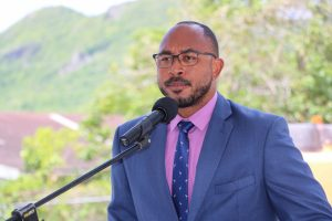 Hon. Jonel Powell, Minister of Education in St. Kitts and Nevis delivering remarks at a ground breaking ceremony on August 06, 2020, for the construction of a state-of-the-art technical wing at the Gingerland Secondary School